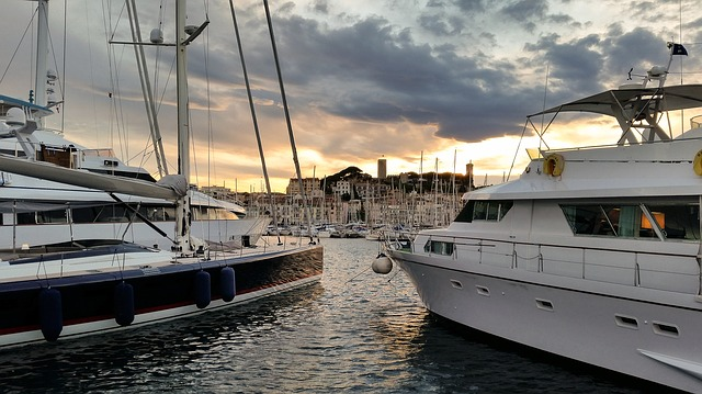 View of Cannes from the sea.