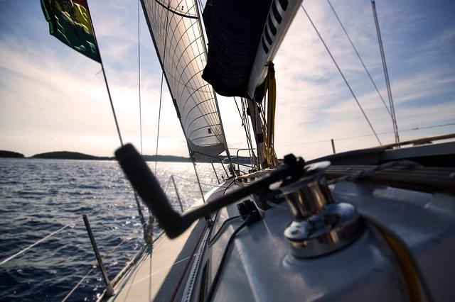 Photo of a boat sailing.